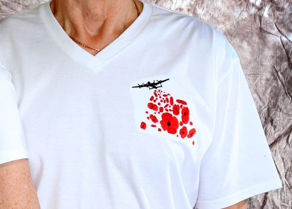 Ladies V Neck Poppy Drop T Shirt